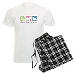 Peace, Love, Springers Men's Light Pajamas