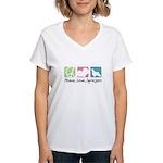 Peace, Love, Springers Women's V-Neck T-Shirt