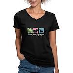 Peace, Love, Springers Women's V-Neck Dark T-Shirt