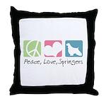 Peace, Love, Springers Throw Pillow