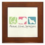 Peace, Love, Springers Framed Tile