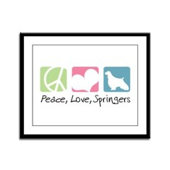 Peace, Love, Springers Framed Panel Print