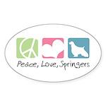 Peace, Love, Springers Sticker (Oval 10 pk)