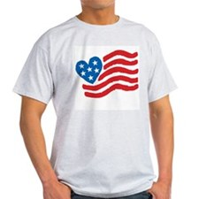 Heart Flag USA: Ash Grey T-Shirt