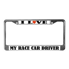 I Love My Race Car Driver License Frame