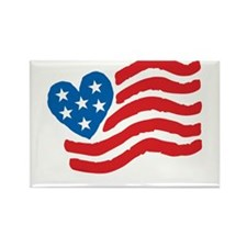 Heart Flag USA: Rectangle Magnet