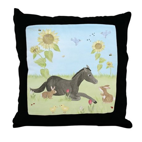 Sunflower - Horse Throw Pillow