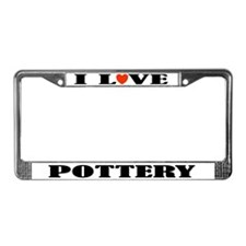 I Love Pottery License Plate Frame