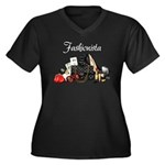 Fashionista Women's Plus Size V-Neck Dark T-Shirt