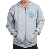 Blue Splash Design Zip Hoodie