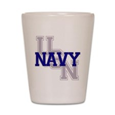 USN Navy Blue and Gray Shot Glass