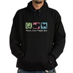 Peace, Love, Finnish Spitz Hoodie (dark)