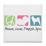 Peace, Love, Finnish Spitz Tile Coaster