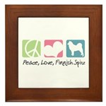 Peace, Love, Finnish Spitz Framed Tile