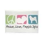Peace, Love, Finnish Spitz Rectangle Magnet (10 pa