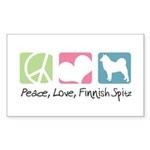Peace, Love, Finnish Spitz Sticker (Rectangle 10 p