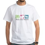 Peace, Love, Flatcoats White T-Shirt