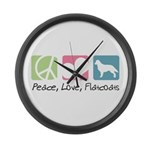 Peace, Love, Flatcoats Large Wall Clock