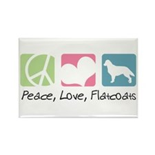 Peace, Love, Flatcoats Rectangle Magnet (100 pack)