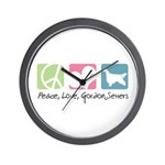 Peace, Love, Gordon Setters Wall Clock