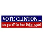 Clinton and the Bush Deficit bumper sticker
