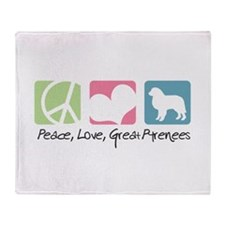 Peace, Love, Great Pyrenees Throw Blanket