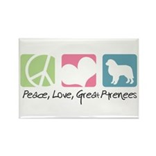 Peace, Love, Great Pyrenees Rectangle Magnet (100