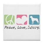 Peace, Love, Swissys Tile Coaster