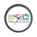 Peace, Love, Swissys Wall Clock