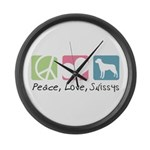 Peace, Love, Swissys Large Wall Clock