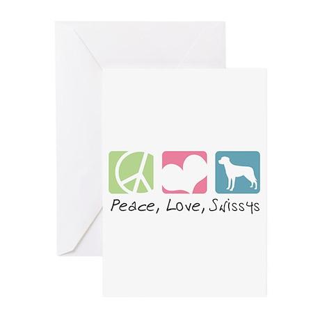 Peace, Love, Swissys Greeting Cards (Pk of 20)