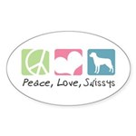Peace, Love, Swissys Sticker (Oval 10 pk)