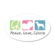Peace, Love, Swissys 38.5 x 24.5 Oval Wall Peel