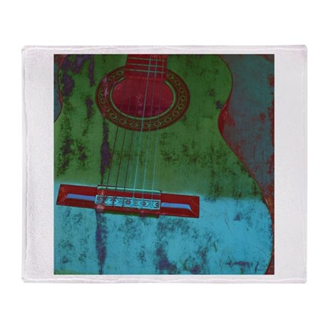 Green and Blue Sea Guitar Throw Blanket