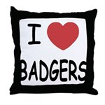 I heart badgers Throw Pillow