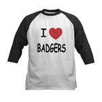 I heart badgers Kids Baseball Jersey