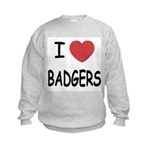 I heart badgers Kids Sweatshirt