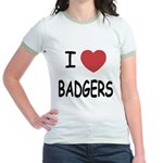 I heart badgers Jr. Ringer T-Shirt