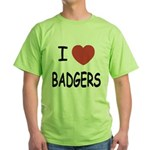 I heart badgers Green T-Shirt
