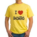 I heart badgers Yellow T-Shirt