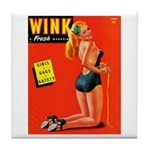 Wink Vintage Blonde in Black Cover Tile Coaster