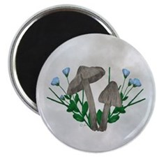 "Brown Mushrooms Flax Flower 2.25"" Magnet (10 pack)"