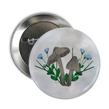 "Brown Mushrooms Flax Flower 2.25"" Button (10 pack)"