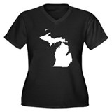 Michigan Map Women's Plus Size V-Neck Dark T-Shirt