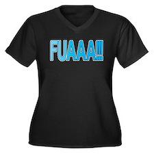 EL Fuaaa Women's Plus Size V-Neck Dark T-Shirt