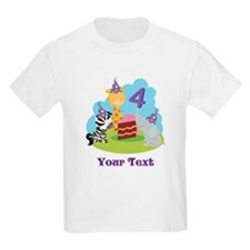 Personalized 4th Birthday Animals T-Shirt