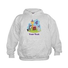 Personalized 4th Birthday Animals Hoodie