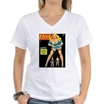 Flirt Blonde Beauty Girl Cover Women's V-Neck T-Sh