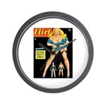 Flirt Blonde Beauty Girl Cover Wall Clock