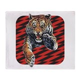 Red Black Tiger Throw Blanket